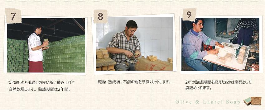 【アレッポの石鹸 製造工程】7.切り取ったら風通しの良い所に積み上げて自然乾燥します。  熟成期間は2年間。  8.乾燥・熟成後、石鹸の端を形良くカットします。 9.2年の熟成期間を終えたものは商品として袋詰めされます。