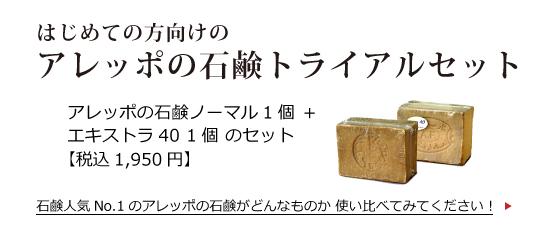 はじめての方向けのアレッポの石鹸トライアルセット アレッポの石鹸ノーマル1個+エキストラ40 1個のセット(税込1950円)石鹸人気No.1のアレッポの石鹸がどんなものか 使い比べてみてください! >>>